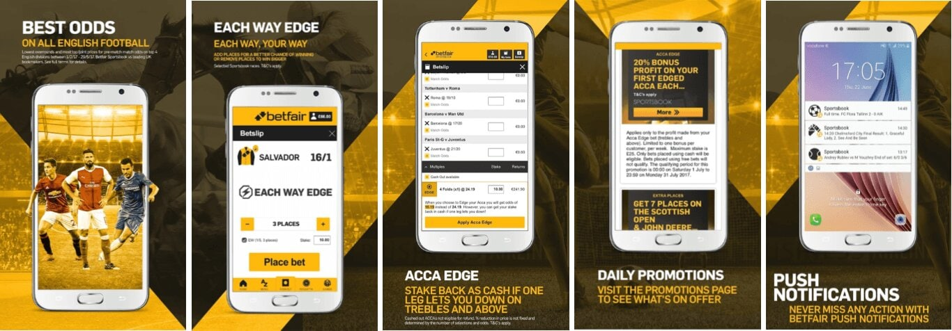 Betfair app and the mobile version